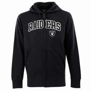 Oakland Raiders Mens Applique Full Zip Hooded Sweatshirt (Color: Black) - XXX-Large