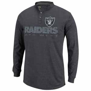 Oakland Raiders Long Sleeve Weathered Henley II - XX-Large