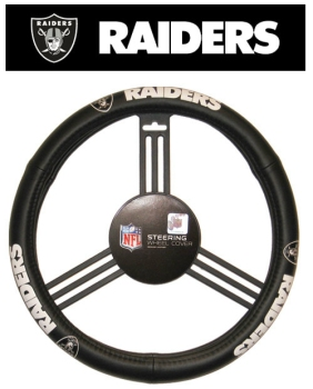 Oakland Raiders Steering Wheel Cover - Leather