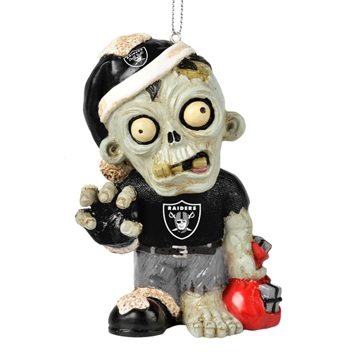 Oakland Raiders NFL Resin Zombie Christmas Ornament