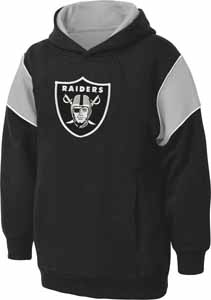 Oakland Raiders NFL YOUTH Color Block Pullover Hooded Sweatshirt - Large