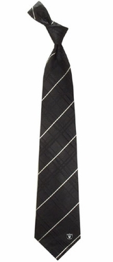 Oakland Raiders Oxford Stripe Woven Silk Necktie