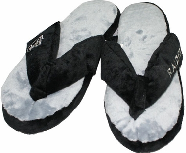 Oakland Raiders Plush Thong Slippers