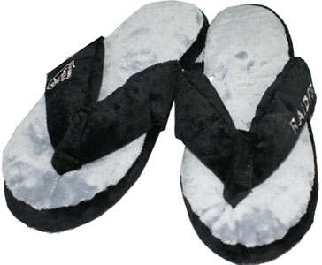Oakland Raiders Plush Thong Slippers-X-Large
