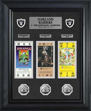 Oakland Raiders Oakland Raiders Super Bowl Ticket and Game Coin Collection Framed