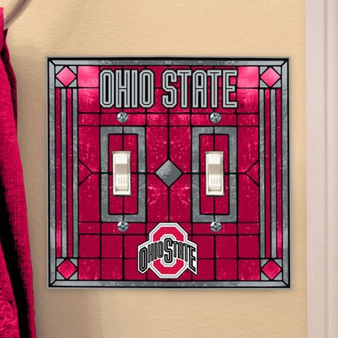 Ohio State Art Glass Lightswitch Cover (Double)