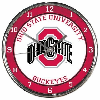 Ohio State Buckeyes Round Chrome Wall Clock