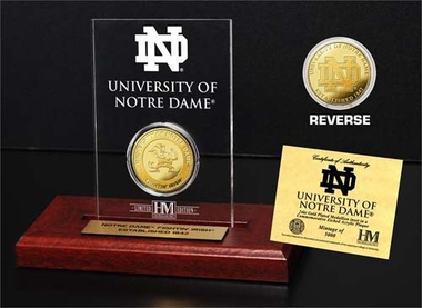 Notre Dame Fighting Irish University of Notre Dame 24KT Gold Coin Etched Acrylic
