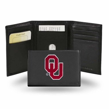 Oklahoma Embroidered Leather Tri-Fold Wallet