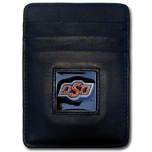 Oklahoma State Leather Money Clip (F)