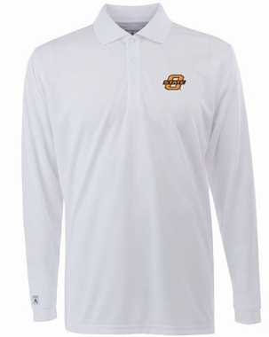 Oklahoma State Mens Long Sleeve Polo Shirt (Color: White)