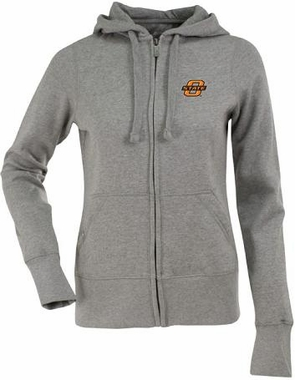 Oklahoma State Womens Zip Front Hoody Sweatshirt (Color: Silver)