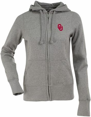Oklahoma Womens Zip Front Hoody Sweatshirt (Color: Gray)