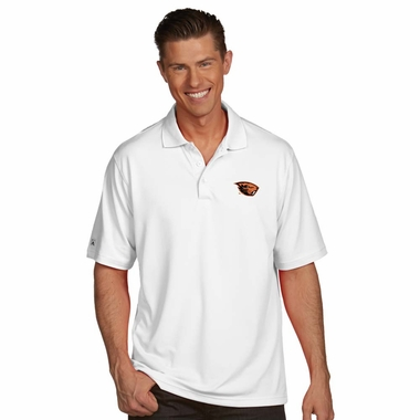 Oregon State Mens Pique Xtra Lite Polo Shirt (Color: White) - Large