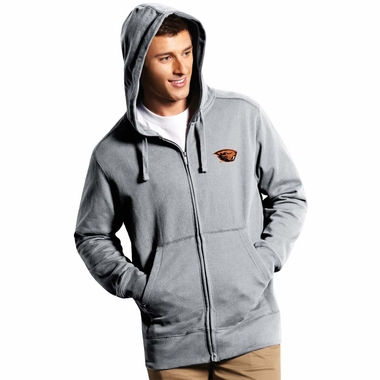 Oregon State Mens Signature Full Zip Hooded Sweatshirt (Color: Silver)