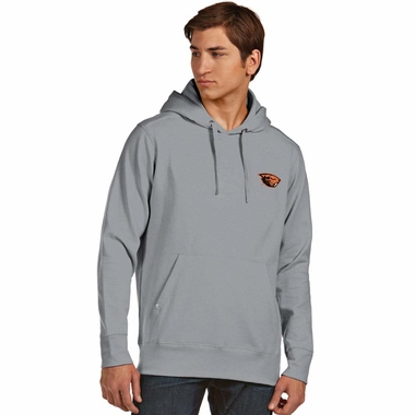 Oregon State Mens Signature Hooded Sweatshirt (Color: Gray) - XXX-Large