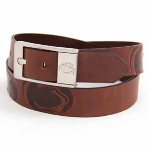 Penn State Brown Leather Brandished Belt - Size 34 (For 32 Inch Waist)