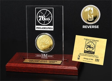 Philadelphia 76ers Gold Coin Etched Acrylic