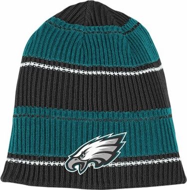 Philadelphia Eagles Cuffless Reversible Team Name and Logo Knit Hat