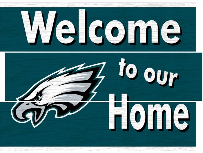 8769bc0a229 Philadelphia Eagles Distressed Welcome to Our Home Plank Sign