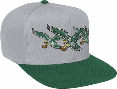 Philadelphia Eagles Mitchell & Ness NFL Triple Stack Logo Snap Back Hat