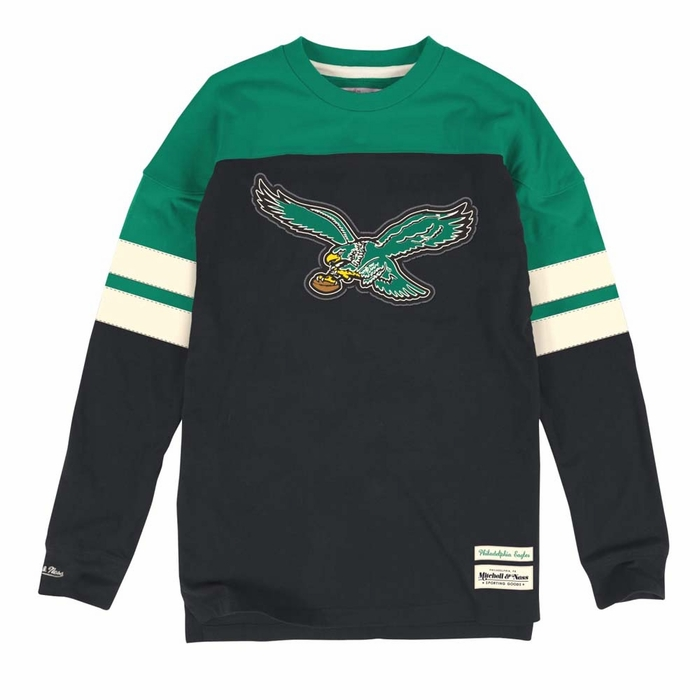 ce886da44fc Philadelphia Eagles Mitchell & Ness Pump Long Sleeve Crew Shirt