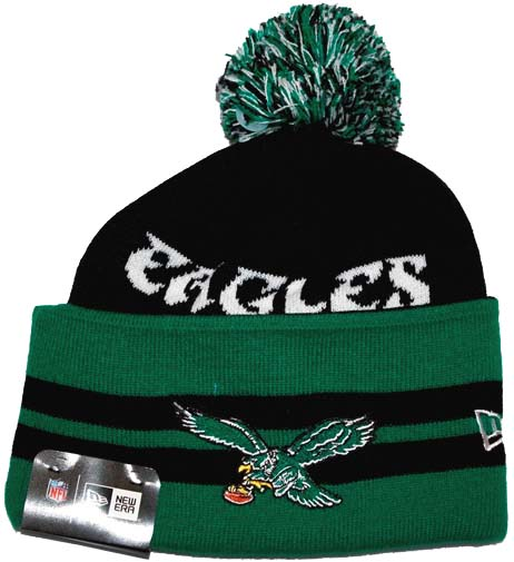 e242b928e Philadelphia Eagles New Era NFL Wide Point Throwback Cuffed Knit Hat