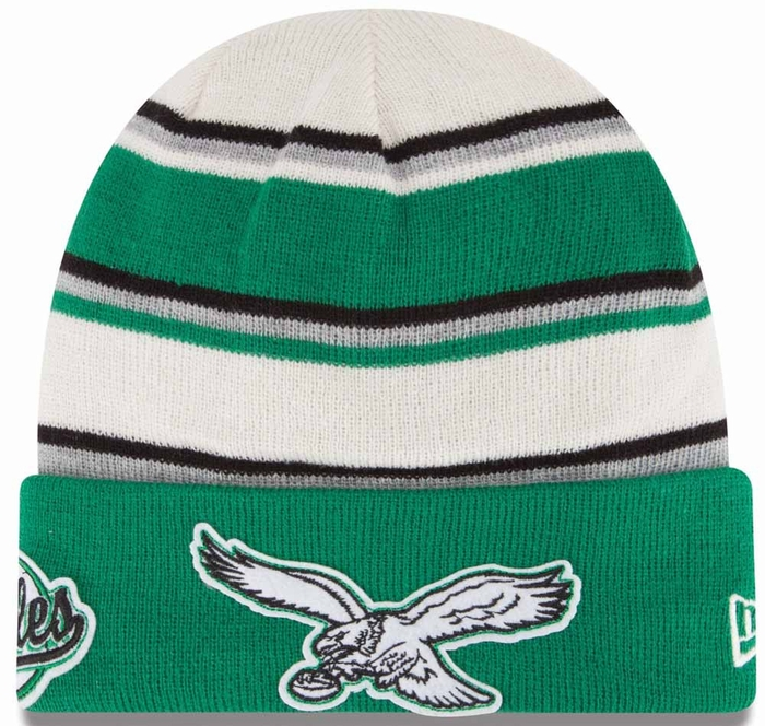 Philadelphia Eagles New Era Winter Tradition Throwback Cuffed Knit Hat a514276d891a