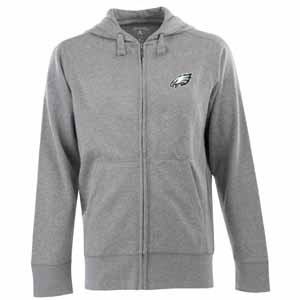 Philadelphia Eagles Mens Signature Full Zip Hooded Sweatshirt (Color: Gray) - Large