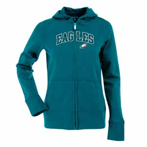 Philadelphia Eagles Applique Womens Zip Front Hoody Sweatshirt (Color: Teal) - Medium