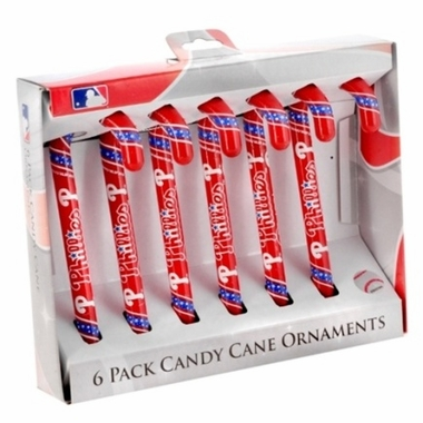 Philadelphia Phillies 2010 Set of 6 Candy Cane Ornaments