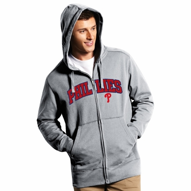 Philadelphia Phillies Mens Applique Full Zip Hooded Sweatshirt (Color: Gray)
