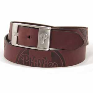 Philadelphia Phillies Brown Leather Brandished Belt - Size 32 (For 30 Inch Waist)