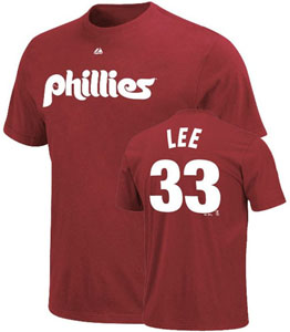 Philadelphia Phillies Cliff Lee Name and Number T-Shirt (Maroon) - Large
