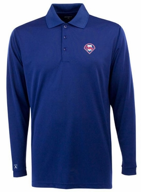 Philadelphia Phillies Mens Long Sleeve Polo Shirt (Color: Blue)