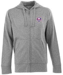 Philadelphia Phillies Mens Signature Full Zip Hooded Sweatshirt (Color: Gray) - XX-Large