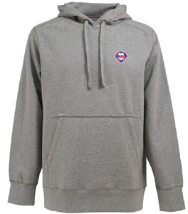 Philadelphia Phillies Mens Signature Hooded Sweatshirt (Color: Silver) - Small