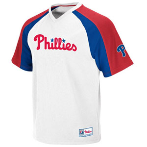 Philadelphia Phillies V-Neck Crusader Jersey (White) - Large