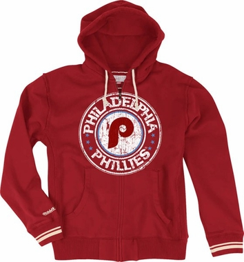 Philadelphia Phillies Vintage Full Zip Premium Hooded Sweatshirt