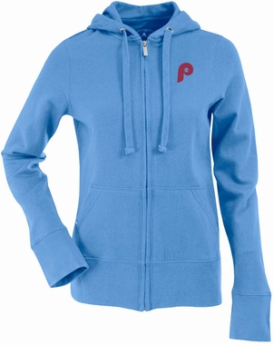 Philadelphia Phillies Womens Zip Front Hoody Sweatshirt (Cooperstown) (Color: Aqua)