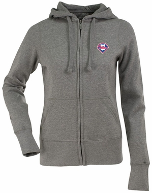 Philadelphia Phillies Womens Zip Front Hoody Sweatshirt (Color: Silver)