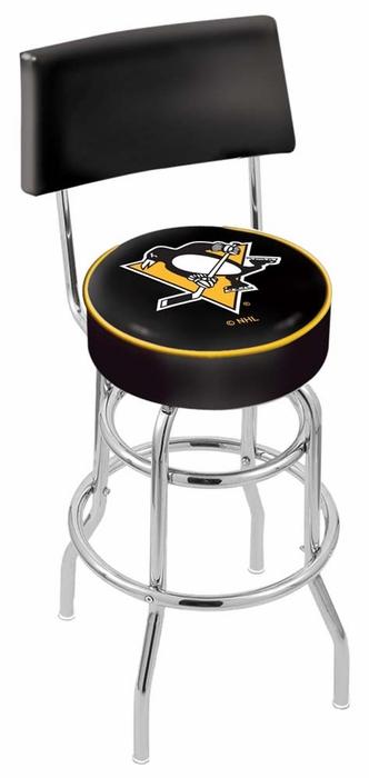 Pittsburgh Penguins 30 Inch L7c4 Chrome Bar Stool With Back