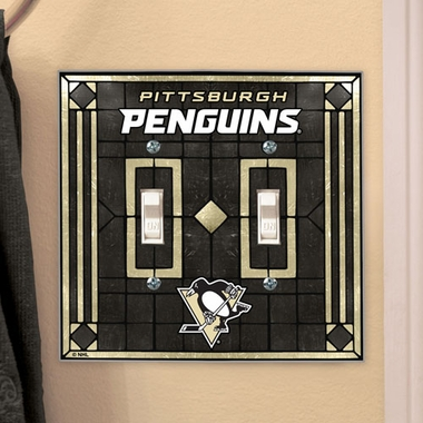 Pittsburgh Penguins Art Glass Lightswitch Cover (Double)