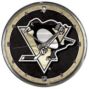 Pittsburgh Penguins Round Chrome Wall Clock