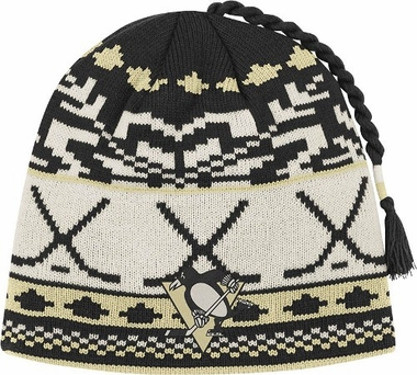 Pittsburgh Penguins Jacquard Pattern Hocky Stick Tassel Cuffless Knit Hat