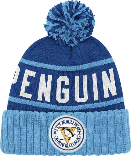Pittsburgh Penguins Mitchell   Ness NHL High 5 Cuffed Premium Knit Hat -  Blue 13d688d2f5f