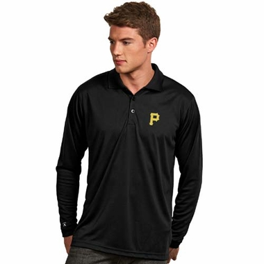 Pittsburgh Pirates Mens Long Sleeve Polo Shirt (Color: Black)