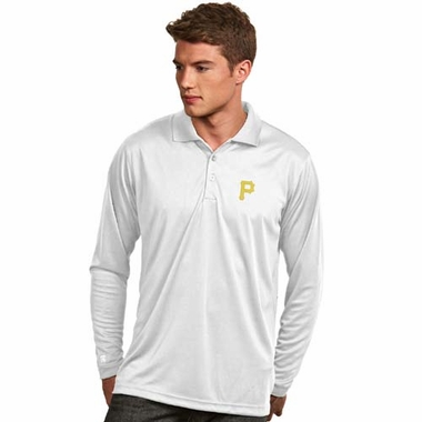Pittsburgh Pirates Mens Long Sleeve Polo Shirt (Color: White)