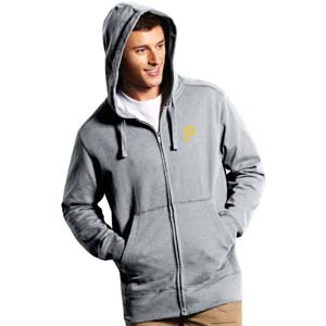 Pittsburgh Pirates Mens Signature Full Zip Hooded Sweatshirt (Color: Gray) - XX-Large