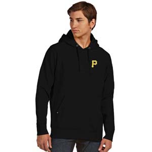 Pittsburgh Pirates Mens Signature Hooded Sweatshirt (Color: Black) - Large